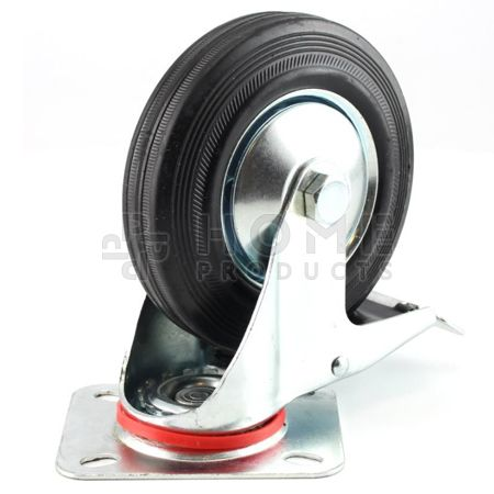Swivel Castor with Brake Metal RIM 125 mm