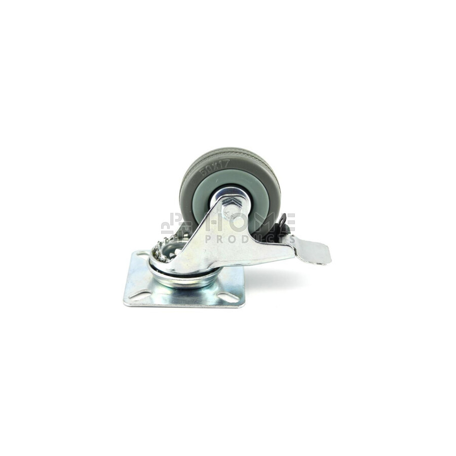 Swivel Castor with Brake grey 50 mm Plate Fitting