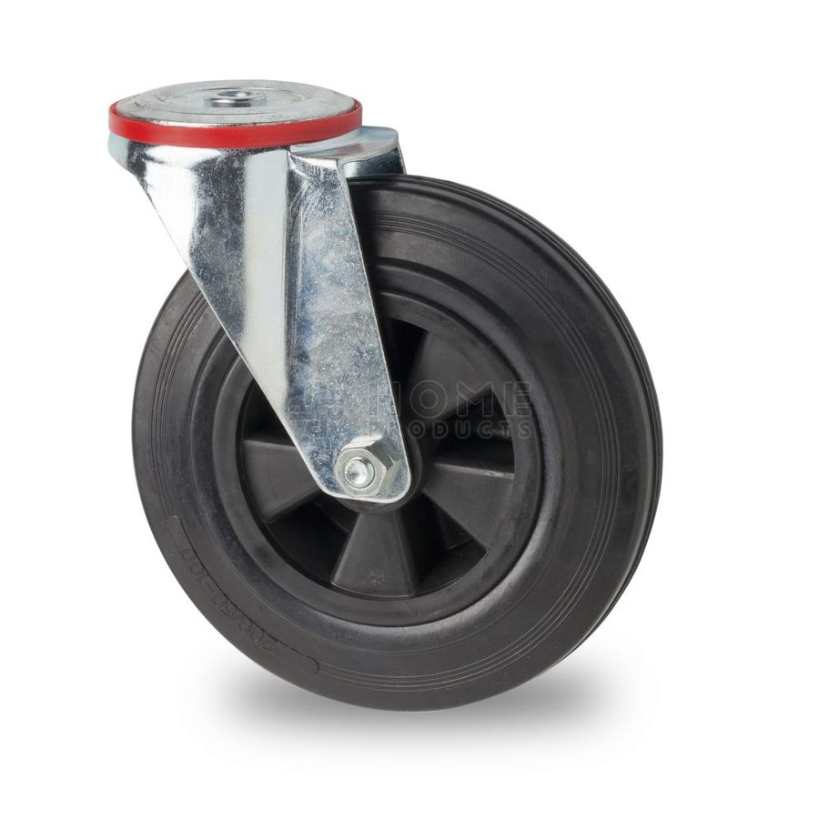 Swivel castor with bolt hole fitting, diameter 125 mm, black rubber tire, load capacity up to 100 kg