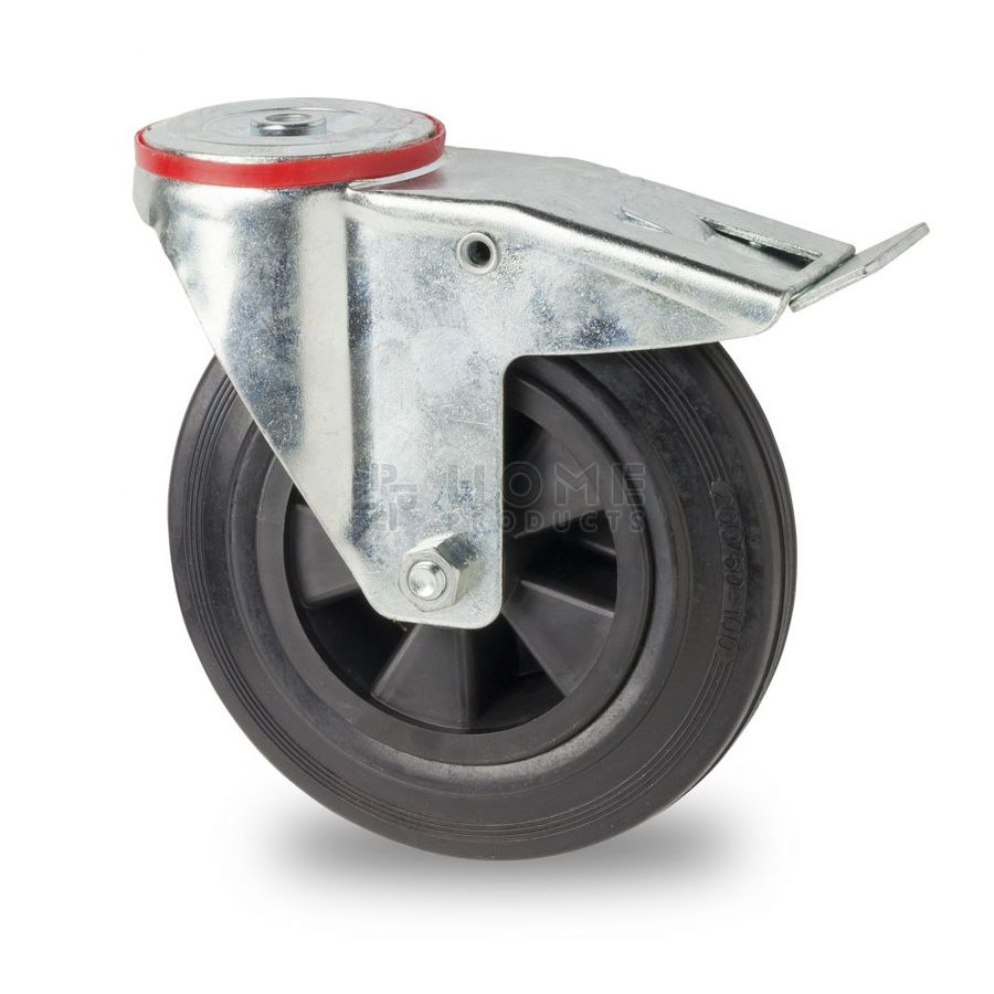 Swivel castor with brake, 200 mm diameter, black rubber tire, load capacity up to 200 kg