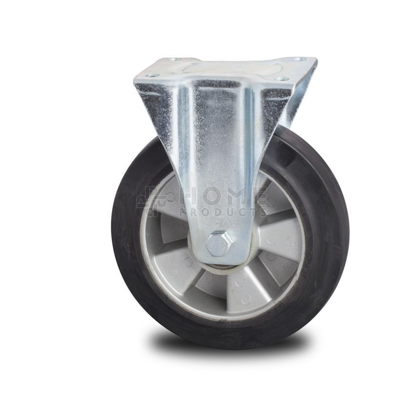 Fixed-wheel wheel, diameter 125 mm, elastic rubber tire, load capacity up to 250 kg
