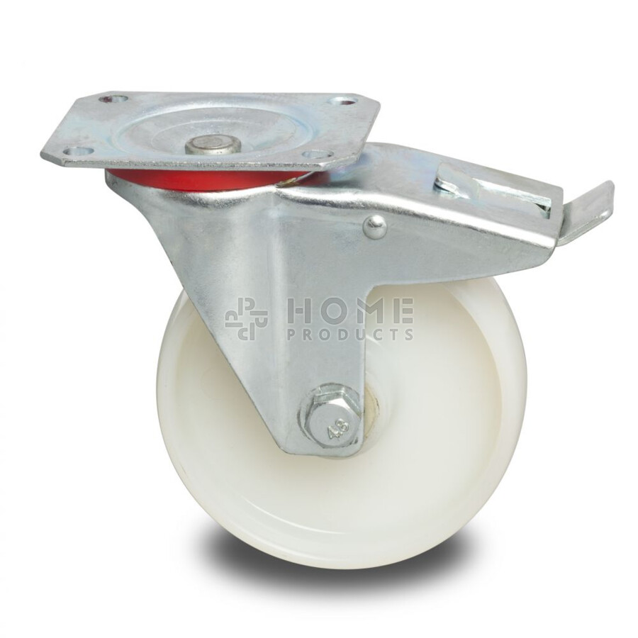 Swivel castor with brake, 100 mm diameter, polyamide wheel, load capacity up to 200 kg